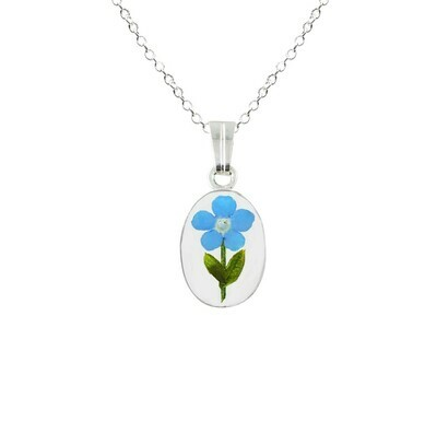 Forget-Me-Not Necklace, Small Oval, Transparent