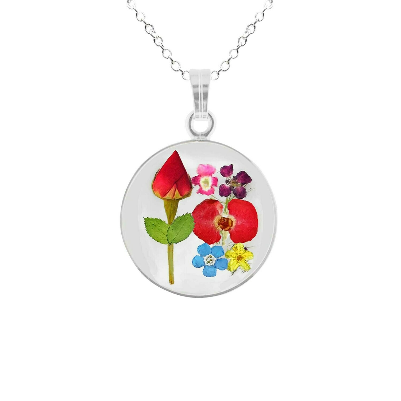 Rose & Mix Flowers Necklace, Medium Circle, Transparent