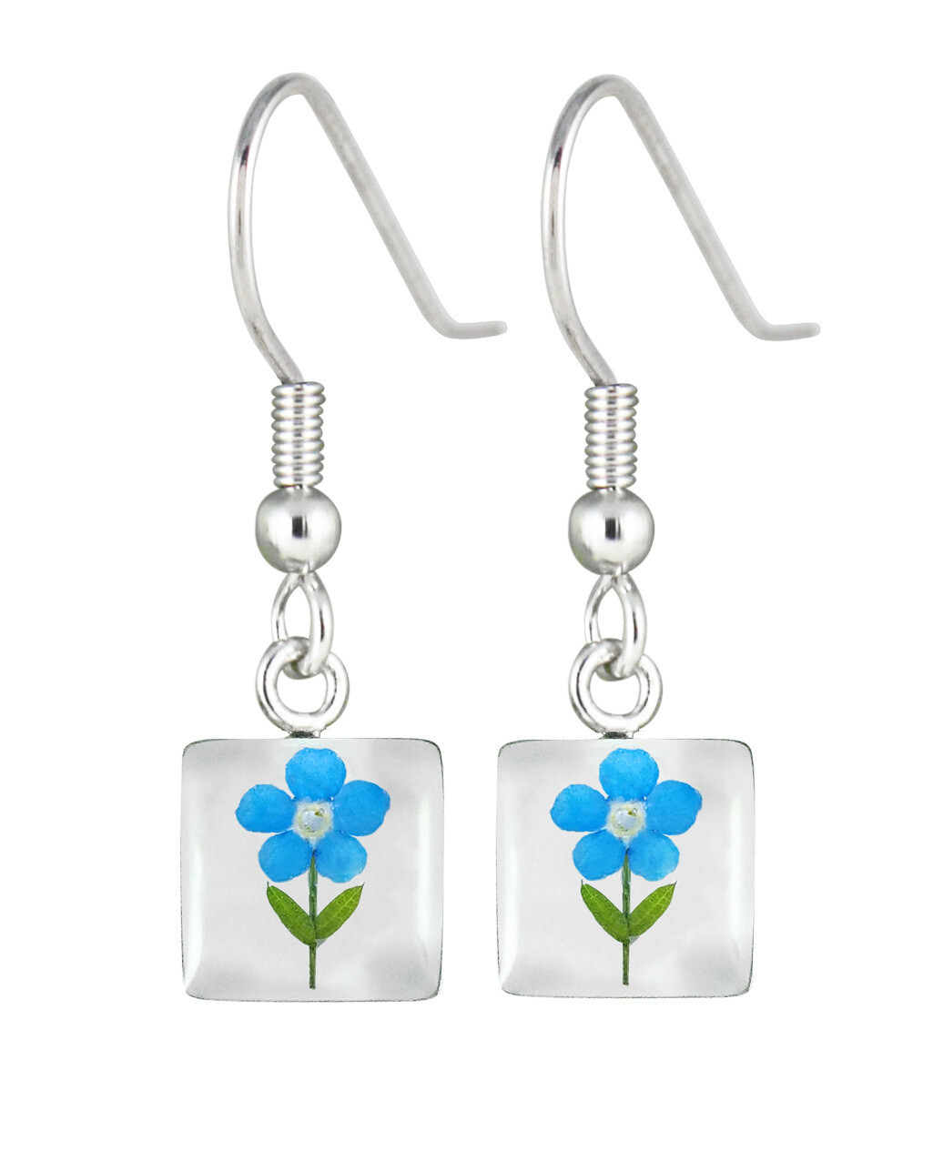 Forget-Me-Not, Mini Square Earrings, White Background
