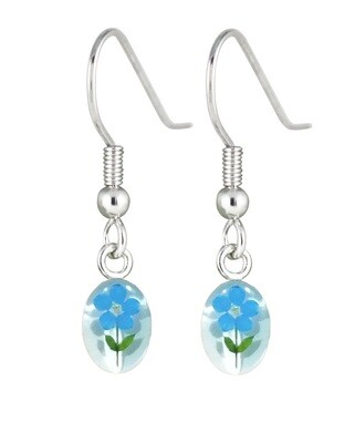 Forget Me Not, Mini Oval hanging earrings, White Background