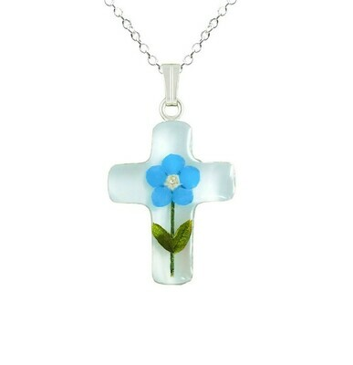 Forget-Me-Not Necklace, Small Cross, White Background