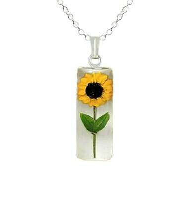 Sunflower Necklace, Medium Rectangle, White Background