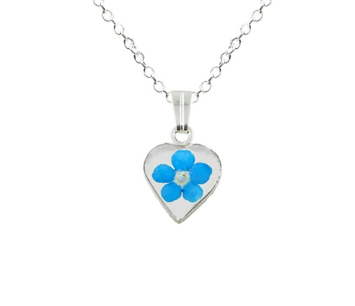Forget-Me-Not Necklace, Small Heart, White Background
