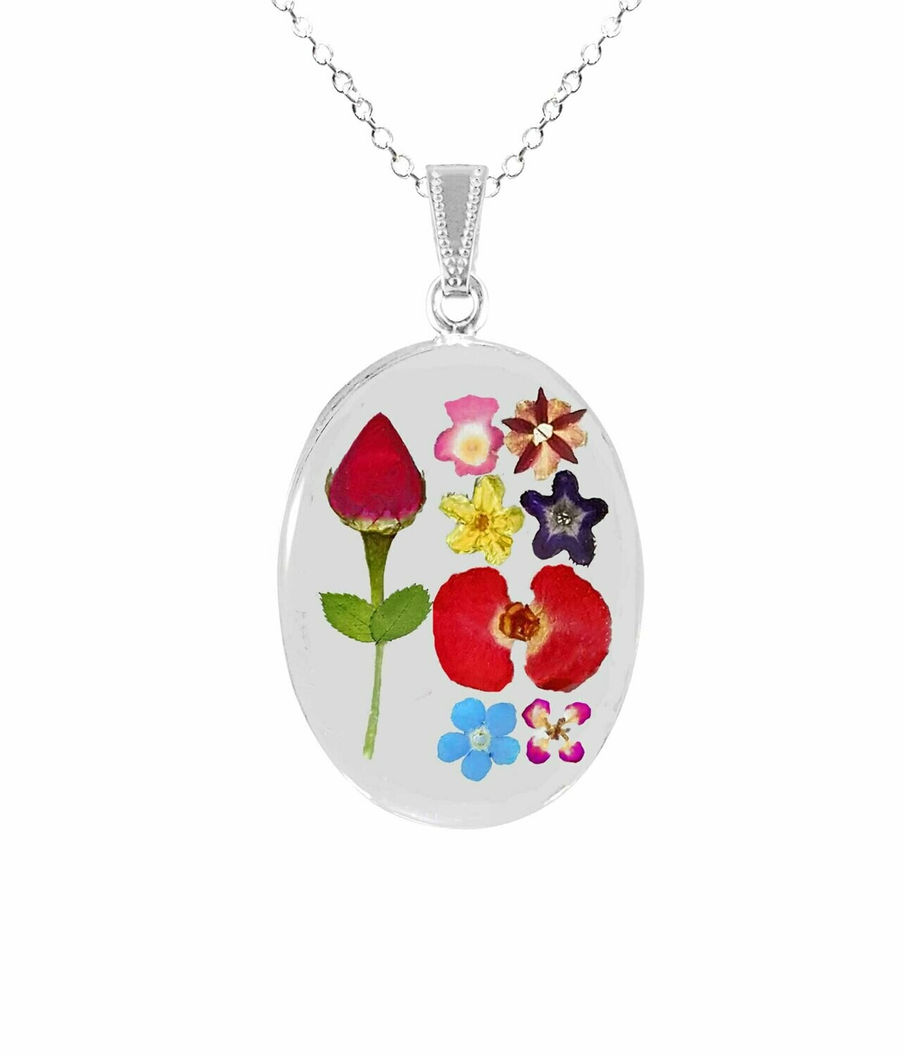 Rose & Mixed Flowers Necklace, Medium Oval, Transparent