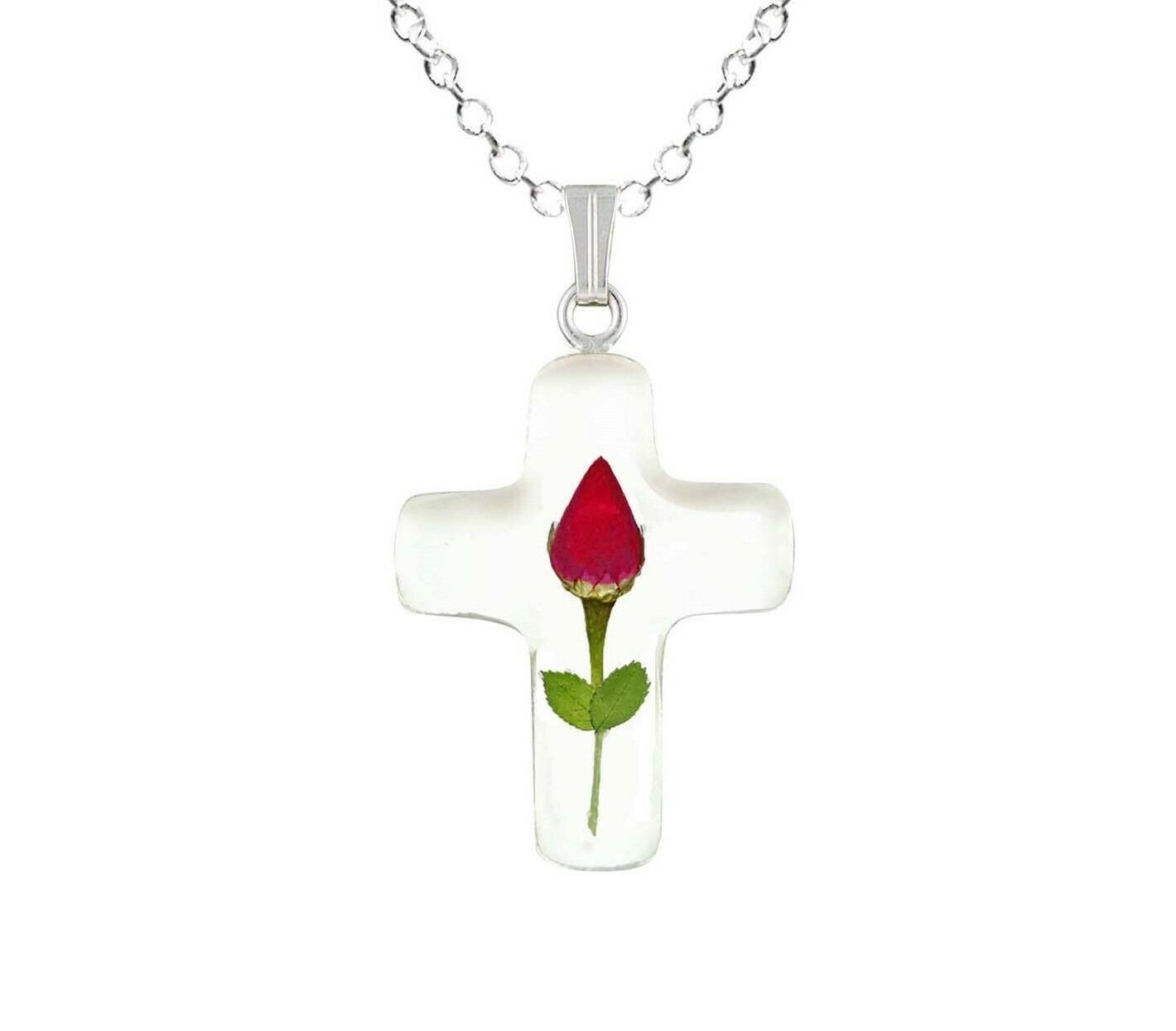 Rose Necklace, Small Cross, White Background