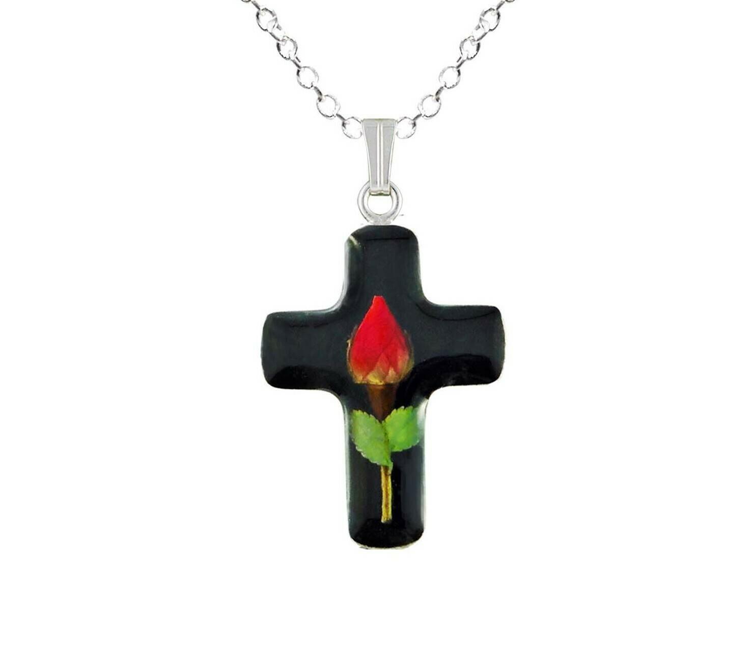 Rose Necklace, Medium Cross, Black background