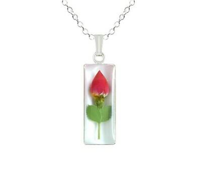 Rose Necklace, Medium Rectangle, White Background