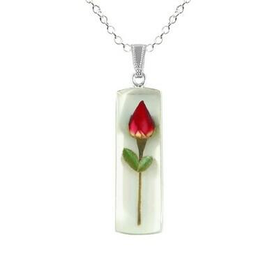 Rose Necklace, Large Rectangle, White Background