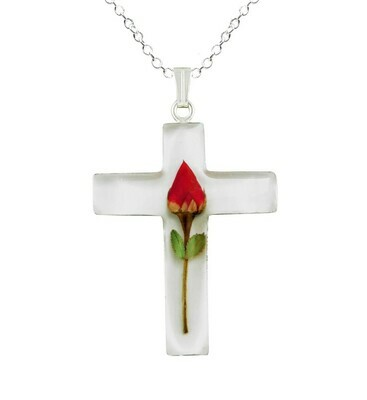 Rose Necklace, Large Cross, White Background