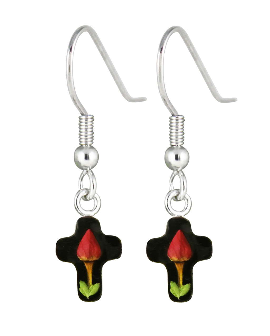 Rose, Small Cross Hanging Earrings, Black Background