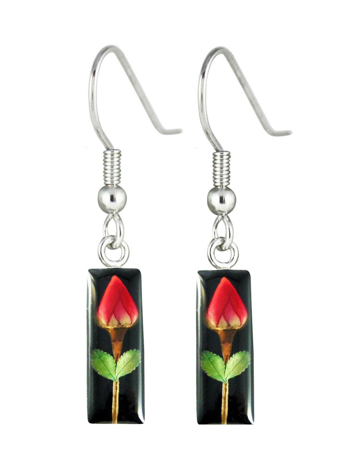 Rose, Small Rectangle Hanging Earrings, Black Background.