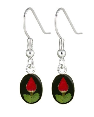 Rose, Small Oval Hanging Earrings, Black Background.