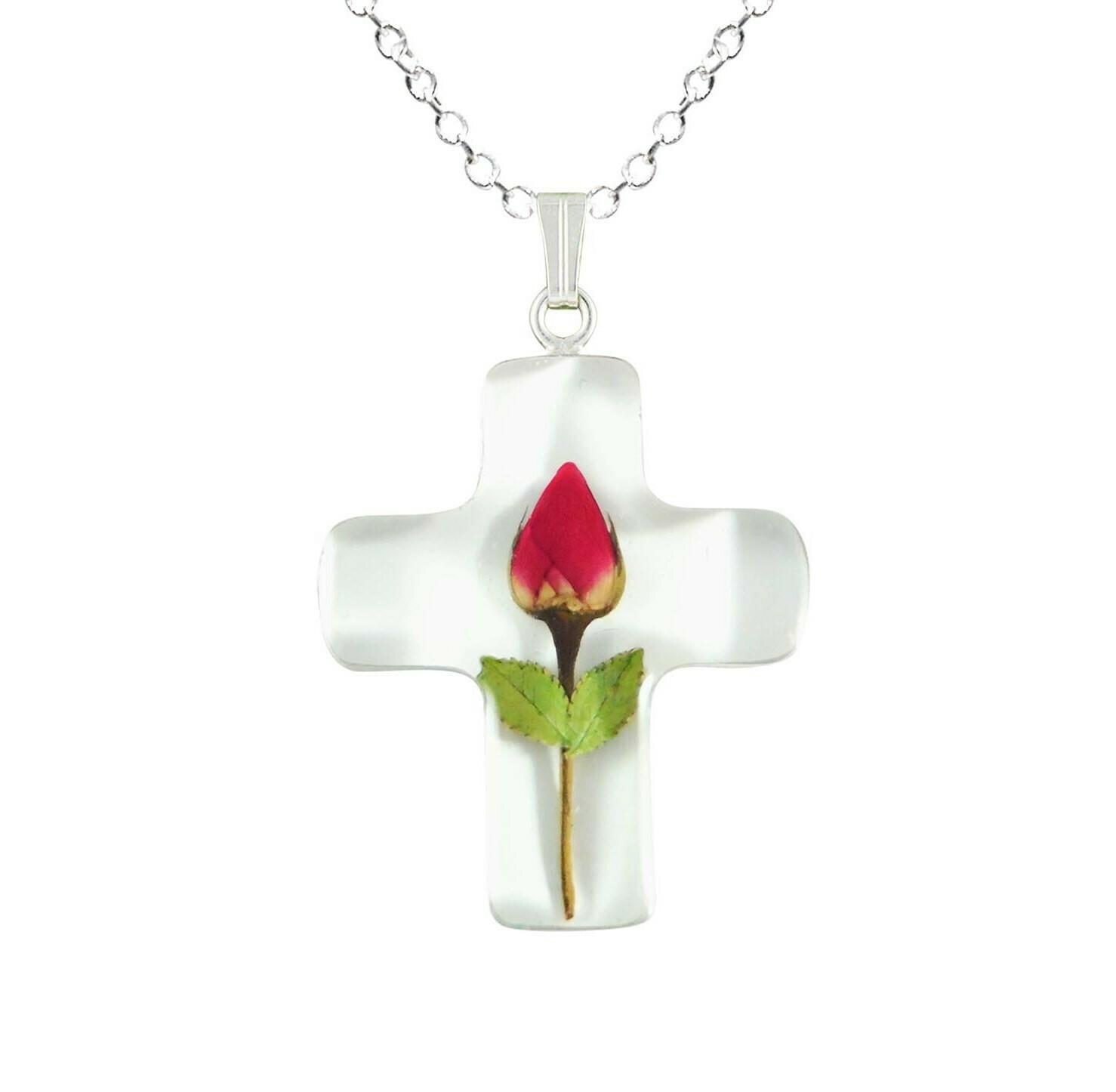 Rose Necklace, Medium Cross, White background
