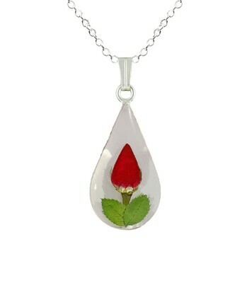Rose Necklace, Teardrop Pendant, White Background