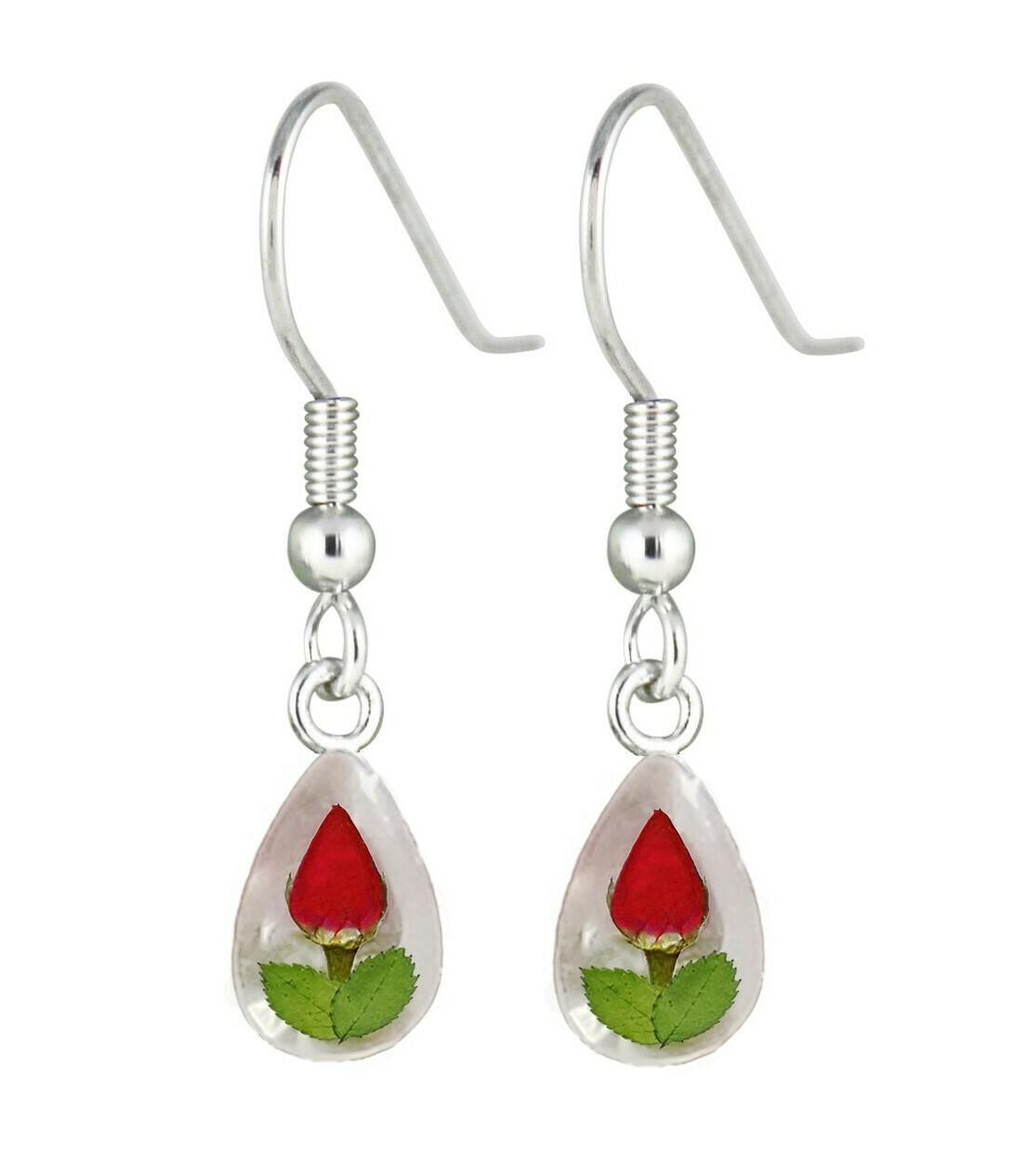 Rose, Teardrop Hanging Earrings, WWhite Banckground.
