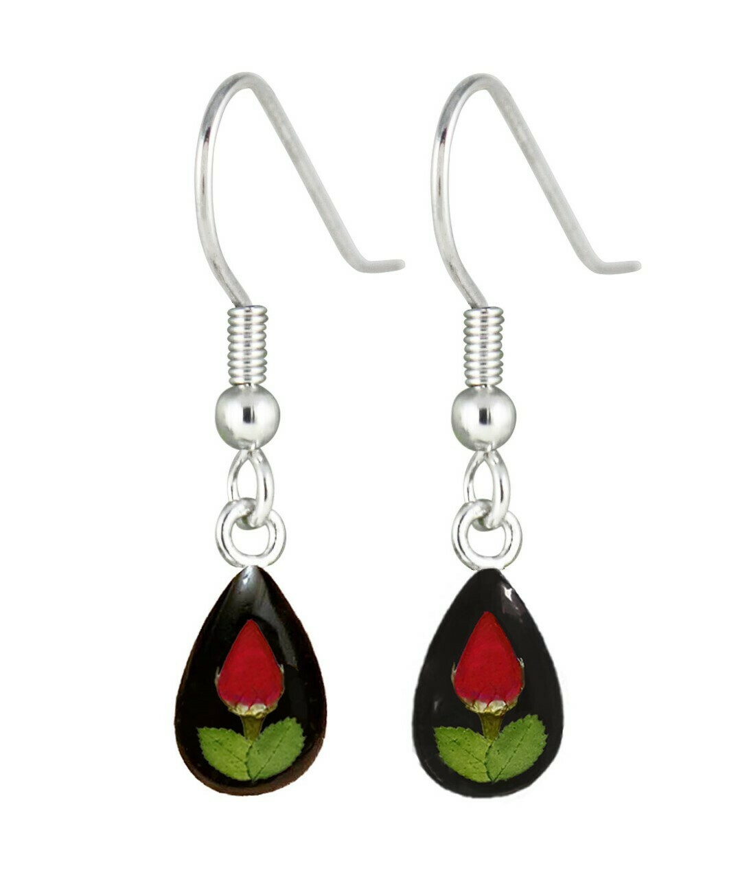 Rose, Teardrop Hanging Earrings, Black Banckground.