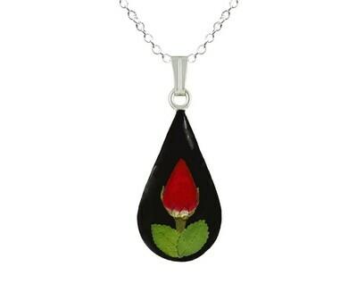 Rose Necklace, Medium Teardrop, Black Background