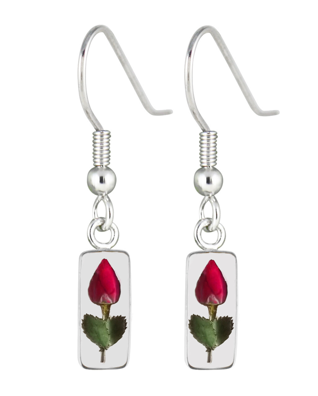 Real Rose Rectangle Earrings, Transparent.