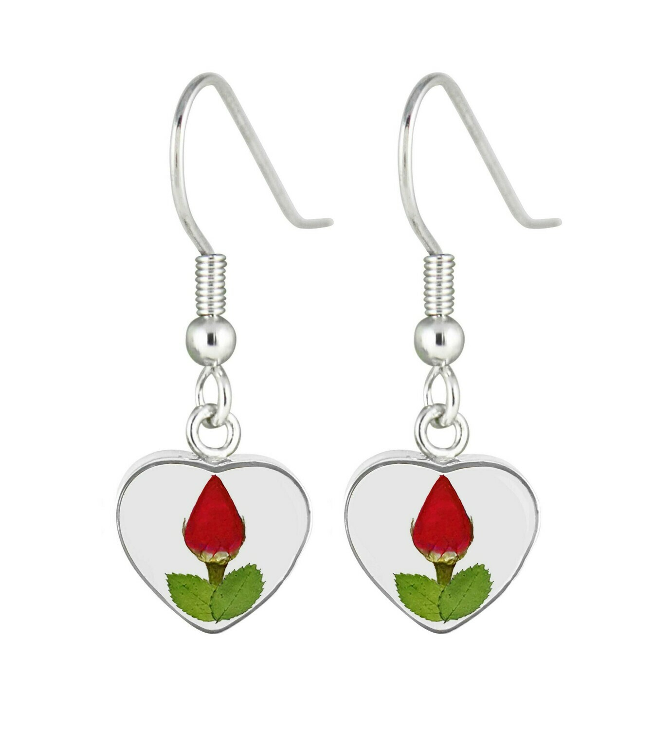 Real Rose Heart Earrings, Transparent Background
