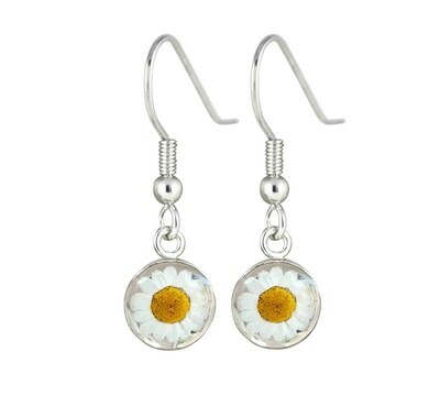 Daisy, Small Circle Hanging Earrings, Transparent