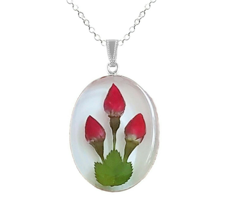 Rose Necklace, Oval Medallion, White Background