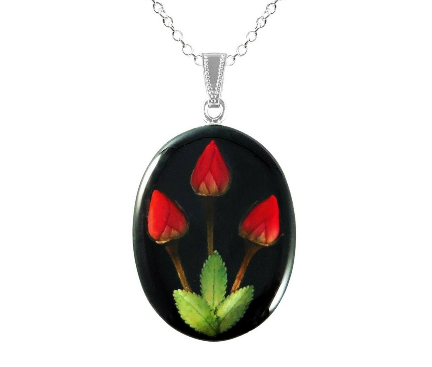 Rose Necklace, Large Oval, Black Background
