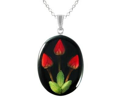 Rose Necklace, Large Oval, Black Background