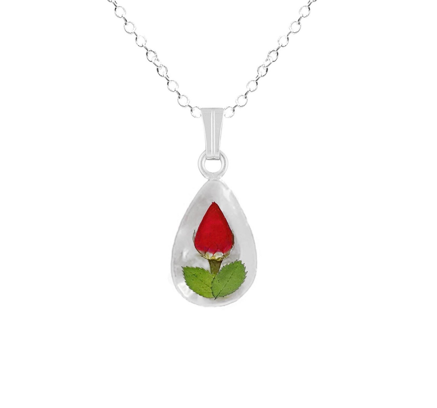 Rose Necklace, Small Teardrop, White Background