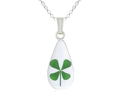 Clover Necklace, Medium Teardrop, Transparent
