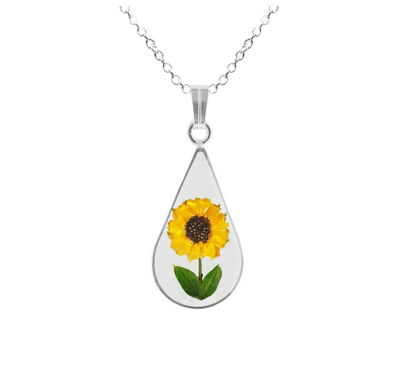 Sunflower Necklace, Medium Teardrop, Transparent