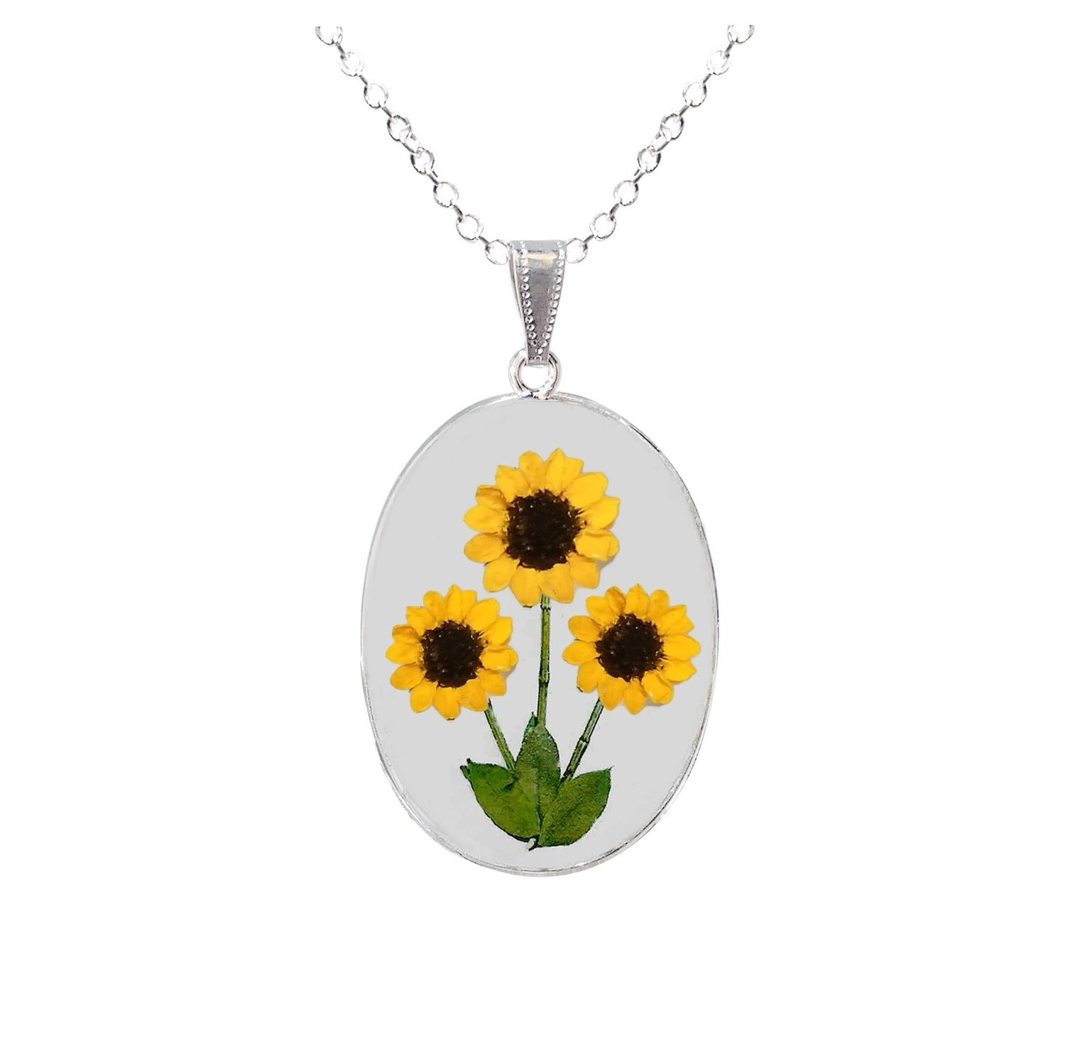Sunflower Necklace, Large Oval, Transparent