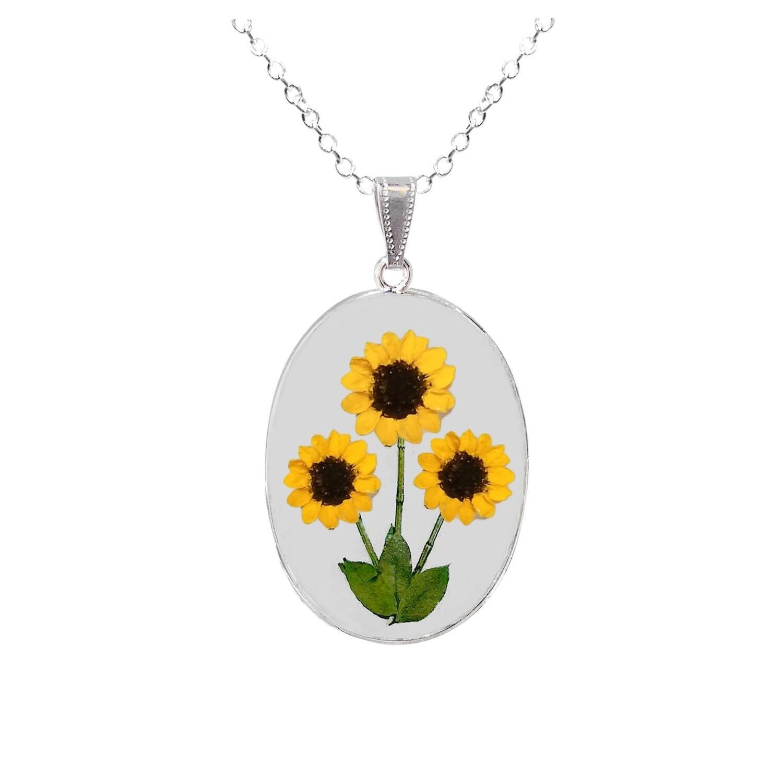 Sunflower Necklace, Large Oval, Transparent