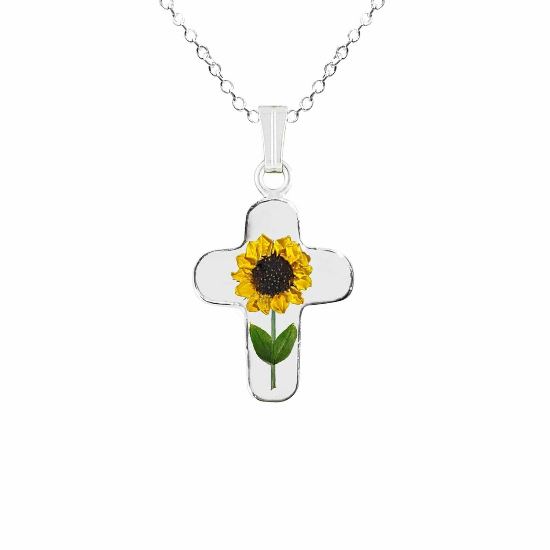 Sunflower Necklace, Medium Cross, Transparent