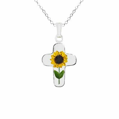 Sunflower Necklace, Medium Cross, Transparent