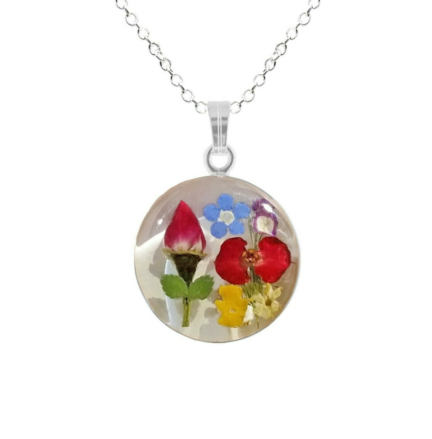 Rose & Mix Flowers Necklace, Medium Circle, White Background