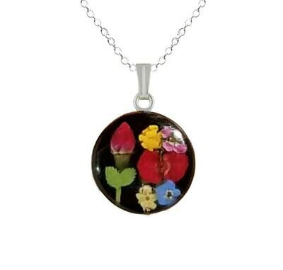 Rose & Mix Flowers Necklace, Medium Circle, Black Background