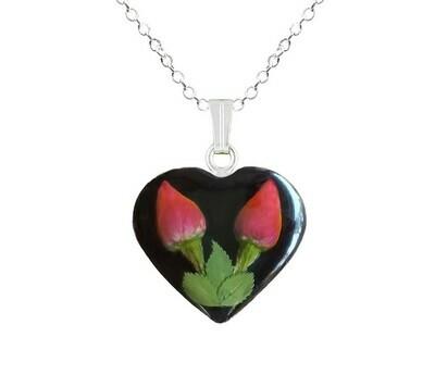 Roses Necklace, Medium Heart, Black Background