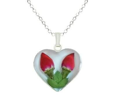 Rose Necklace, Medium Heart, White Background.