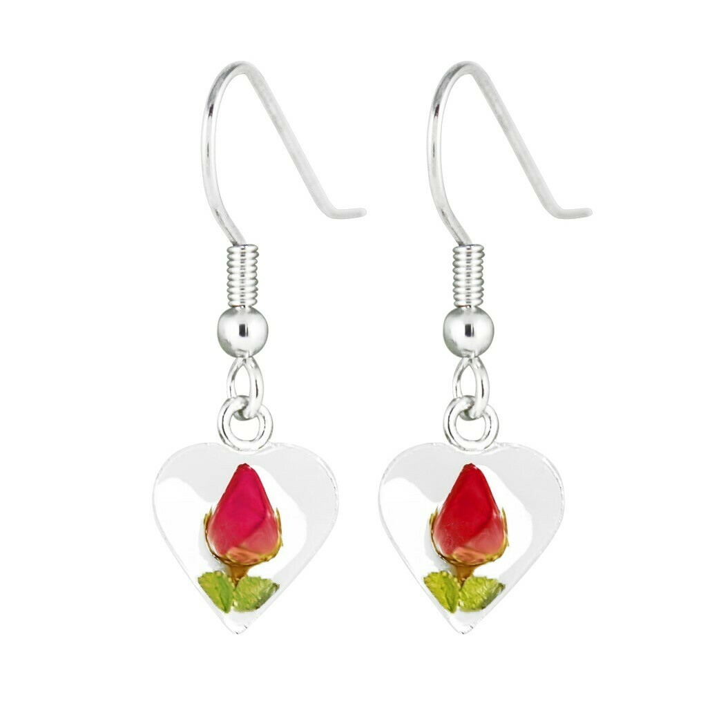 Rose, Small Heart Hanging Earrings, White Background.