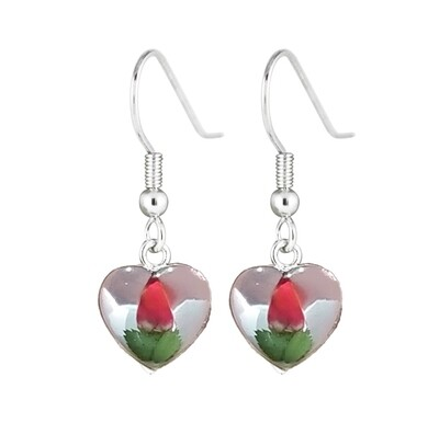 Rose, Heart Hanging Earrings, White Background.