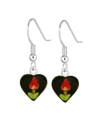 Rose, Small Heart Hanging Earrings, Black Background.