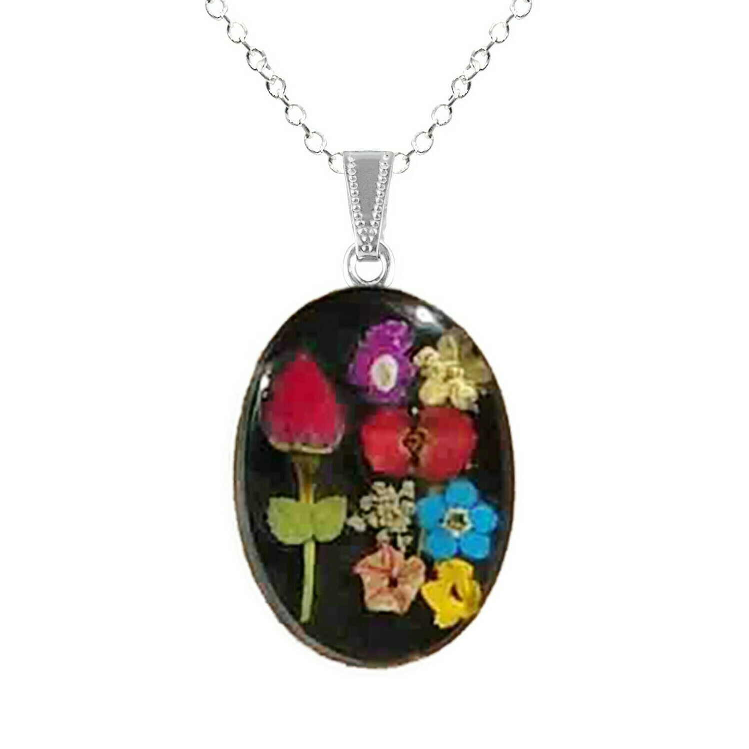 Rose & Mix Flowers Necklace, Medium Oval, Black Background
