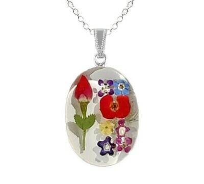 Rose & Mix Flowers Necklace, Large Medallion, White Background