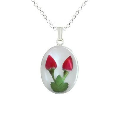 Rose Necklace, Medium Oval, White Background.