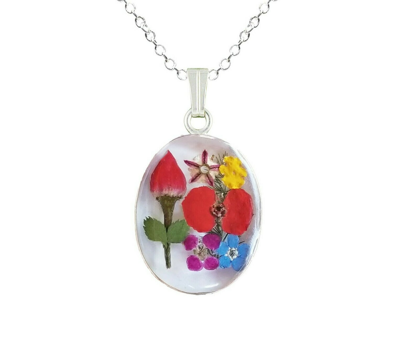 Rose & Mix Flower Necklace, Medium Oval, White Background