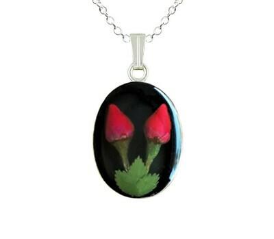 Roses Necklace, Medium Oval, Black Background