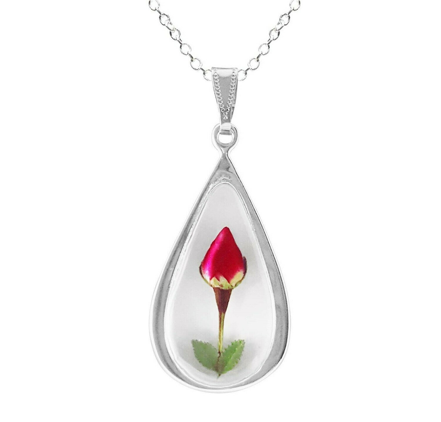 Rose Necklace, Large Teardrop, White Background