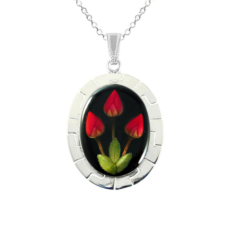 Roses Necklace, X-Large Oval, Black background