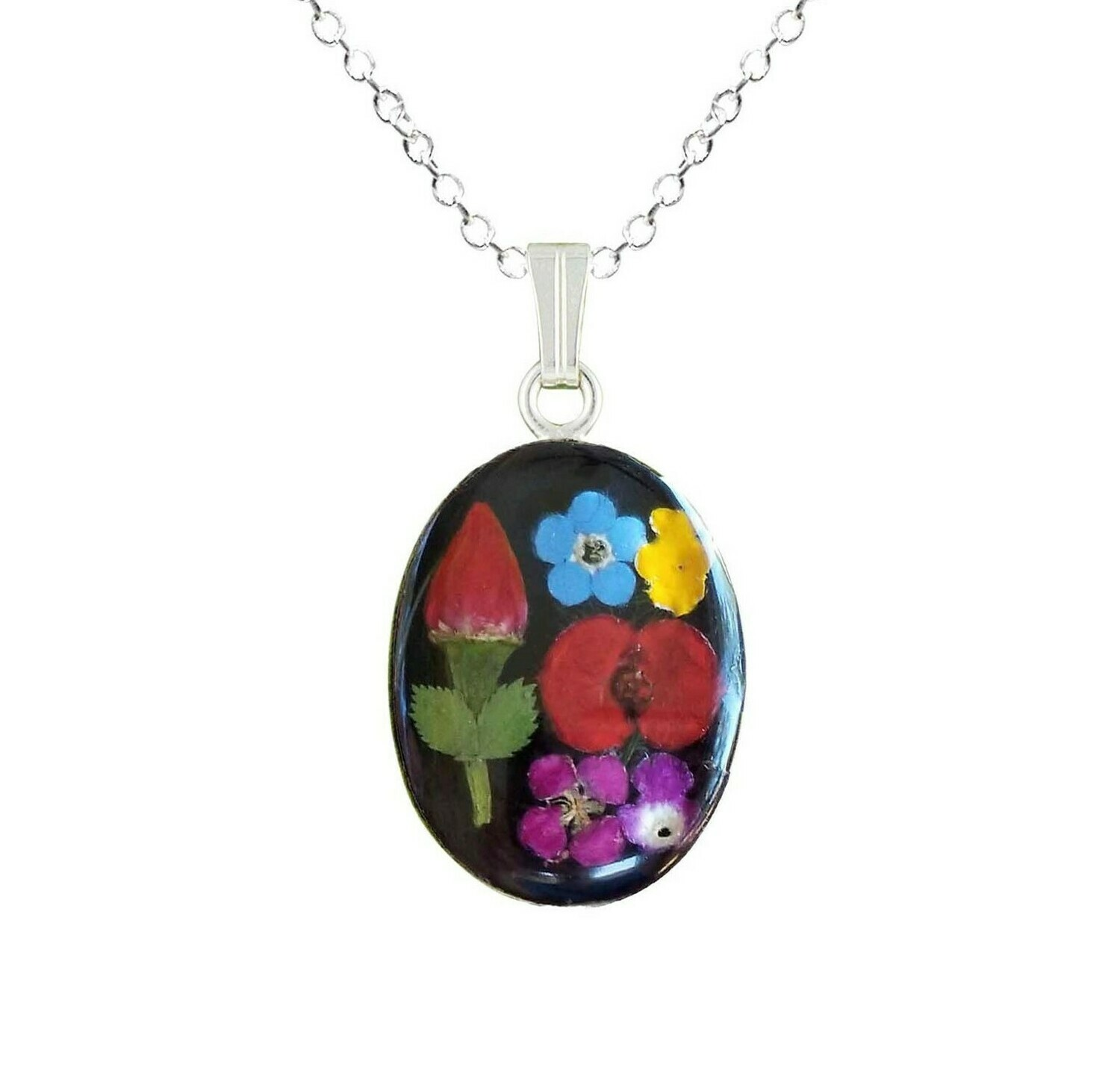 Rose & Mix Flower Necklace, Medium Oval, Black Background