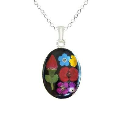 Rose & Mix Flower Necklace, Medium Oval, Black Background